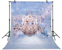 Fairy Tales Cinderella Carriage Butterfly Backgrounds High Grade Vinyl Silk Cloth Computer Printed Children Kids Backdrop