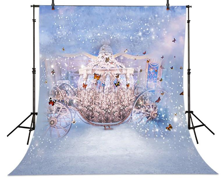 Fairy Tales Cinderella  Carriage Butterfly Backgrounds Vinyl cloth High quality Computer printed children kids backdrop english fairy tales