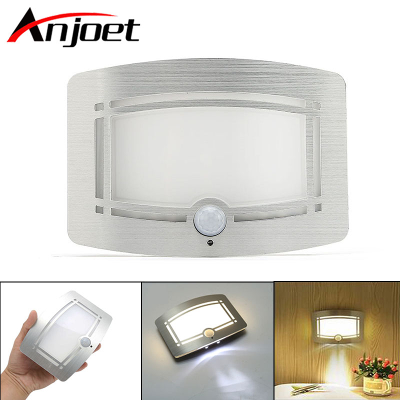Anjoet Wireless Infrared Motion Sensor Wall LED Night Light Novelty Battery Powered Porch Night Lamp Motion Sensor Light Home