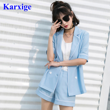 autumn leisure white edge decoration sky blue lighted color trends fashion office lady double button pure color suit