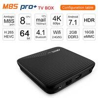New Arrival M8S PRO Android TV Box 2G 16G 3G 16G 3G 32G 4K Network Set