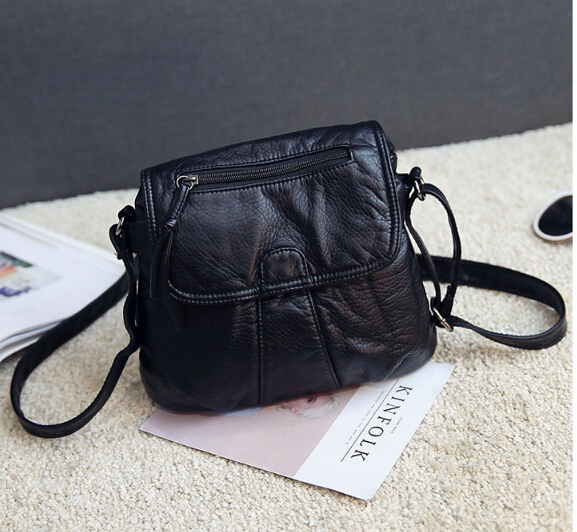 2017 fashion women&#8217;s small handbag soft pu leather casual shoulder messenger small <font><b>bag</b></font> female handbag black d6569
