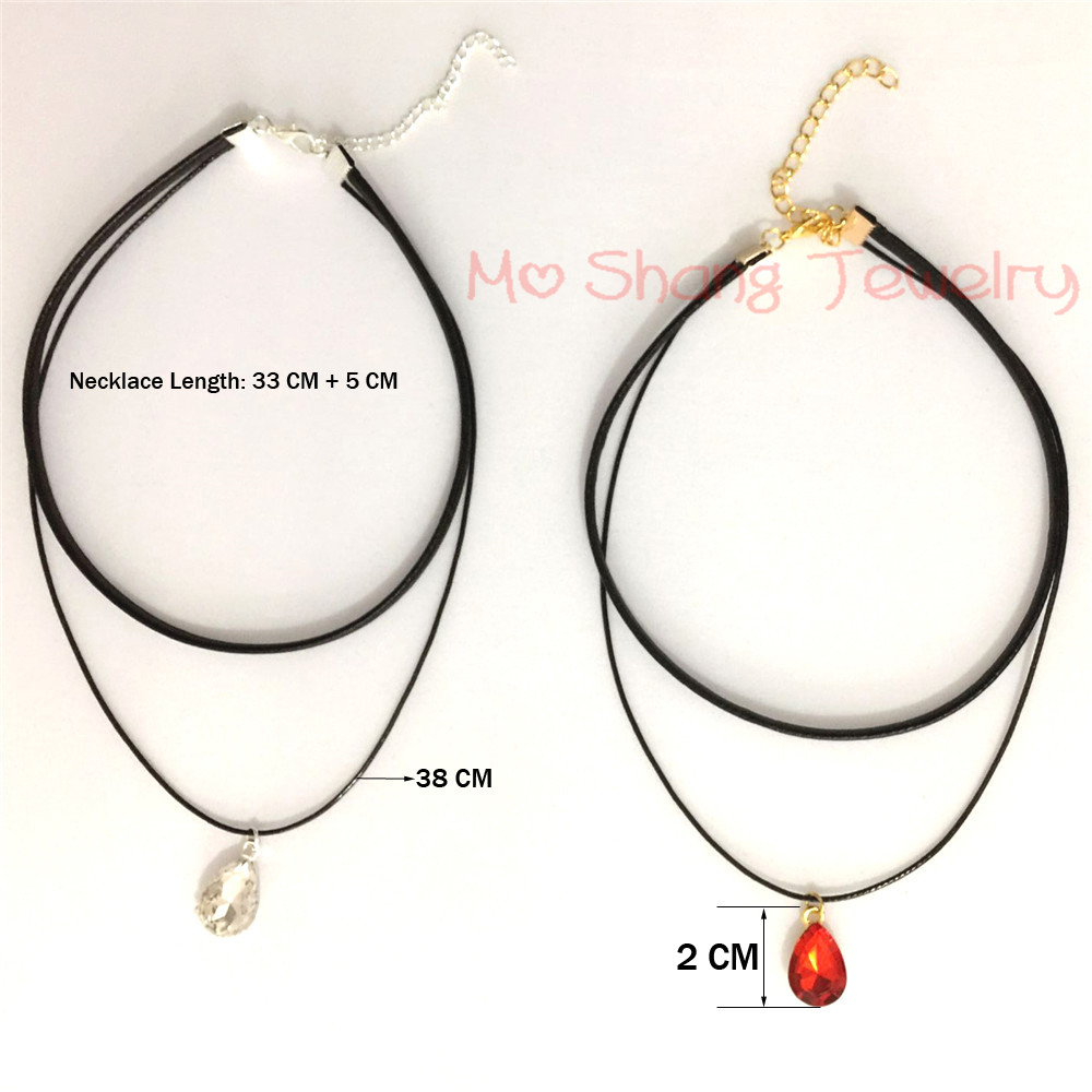 New Design Wax Line Leather Rope Necklace White or Red Single Rhinestone  Crystal Pendant Women Jewelry Henna Gothic Punk Chocker-in Pendant  Necklaces from ... 8a3c2b093760