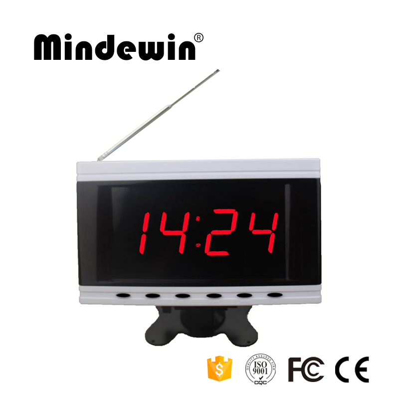 2017 Mindewin Electronic Number Display Wireless Calling System Receiver LED Number Call System Queue Management Buzzer 2 receivers 60 buzzers wireless restaurant buzzer caller table call calling button waiter pager system