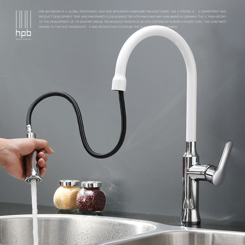 HPB Brass Chrome Pull Out Spray Rotary Deck Mounted Hot And Cold Water Kitchen Mixer Tap Pb-free Sink Faucet Single Hole HP4110