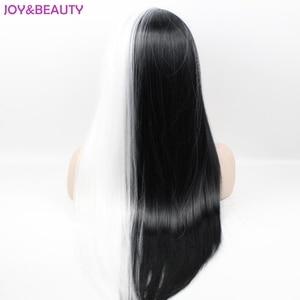 Image 3 - שמחה ויופי שיער שחור/לבן ארוך ישר פאות סינטטי שיער סיבי טמפרטורה גבוהה פאת קוספליי 24 אינץ נשים פאה