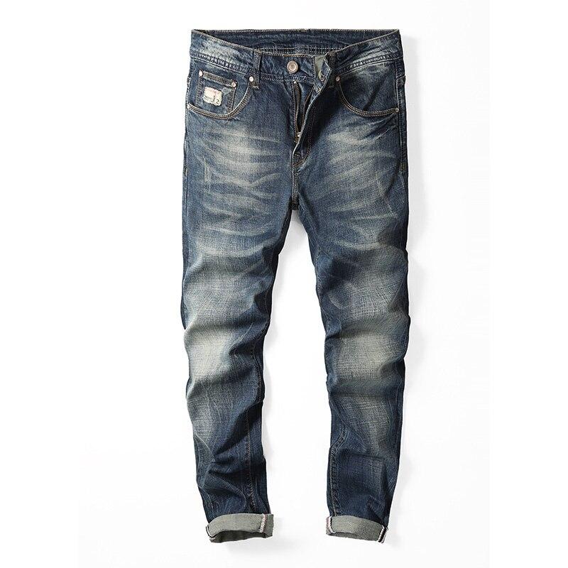 2018 Men Jeans Business Casual Straight Slim Fit Blue Jeans Stretch Denim Pants Trousers Classic Cowboys Young Man Jeans