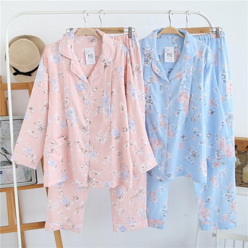 Nursing Wear 2pcs Lactation Clothes Double Cotton Gauze Long Sleeve Tops Long Pants Spring Summer Autumn Maternity Flower Prints