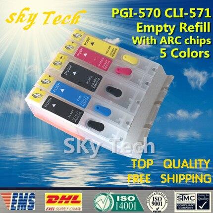 5PK üres, újratölthető tintapatronok a PGI570 CLI571-hez, a PIXMA - Irodai elektronika