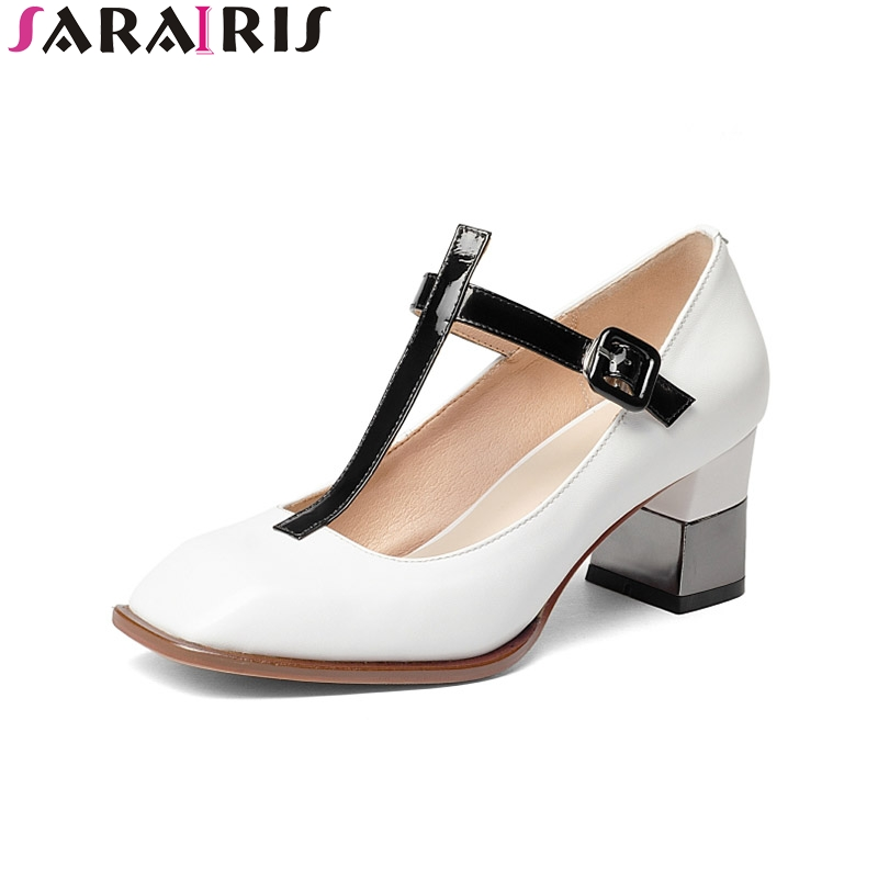 SARAIRIS 2018 Spring Autumn Elegant Genuine Leather Mary Janes Pumps Shallow High Square Heels Women Shoes Large Size 33-43 spring autumn national style crude heel high heels genuine leather large size women shoes anti skid elderly shoes pumps obuv