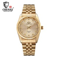 Golden New Clock Gold Fashion Men Watch Full Gold Stainless Steel Quartz Watches Wrist Watch Wholesale
