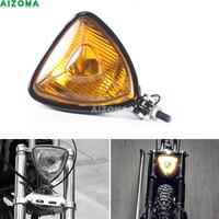 Old School Retro Triangle 12v 55w Halo Headlight For Harley Touring Sportster Vintage Motorcycles Spot Light Universal Headlamp