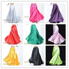 14 Colors Professional Women Belly Dancing Clothes 360 Degree Skirts Flamenco Plus Size Satin Dance Skirt