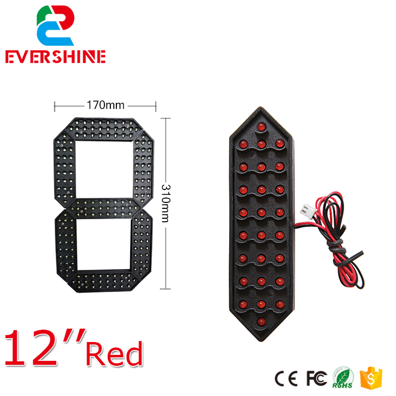 12 inch red yellow and white seven segment led display board outdoor LED digital number module 12 yellow color digita 7segment numbers module outdoor ultra brightness yellow large digital led module display