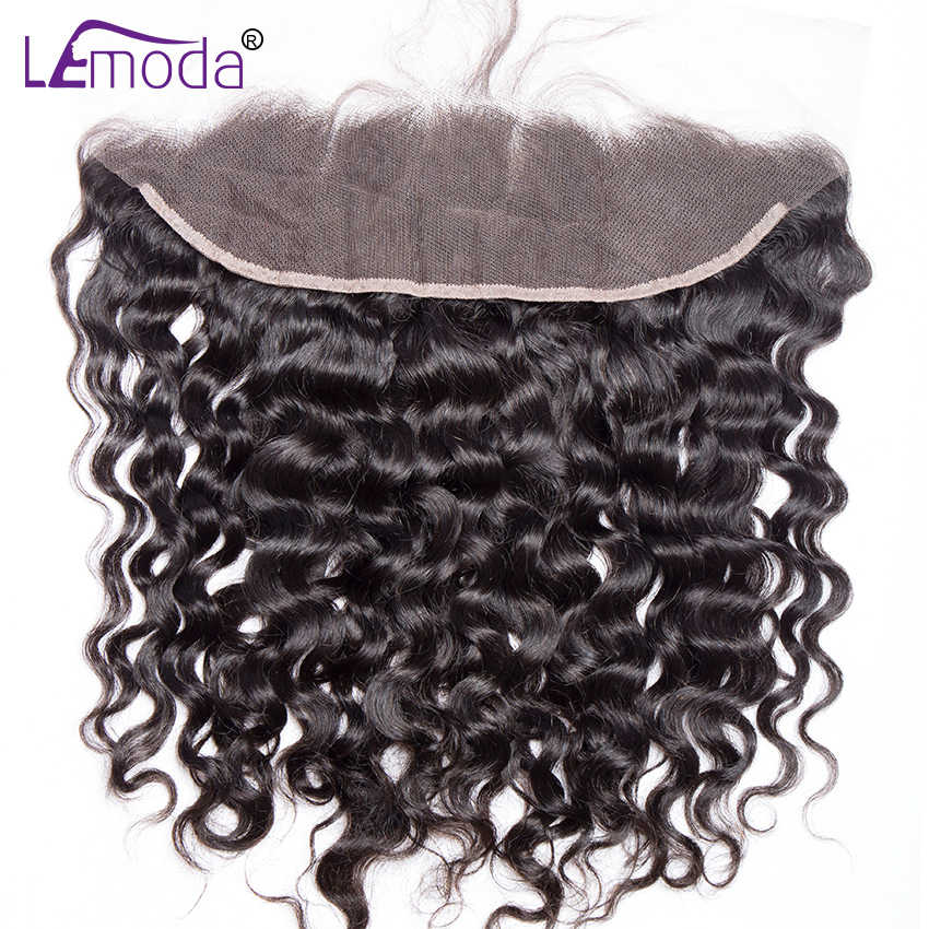 LeModa hair 13x4 Lace Frontal Brazilian Water Wave Ear to Ear Pre Plucked Frontal Closure With Baby Hair 100% Remy Human Hair
