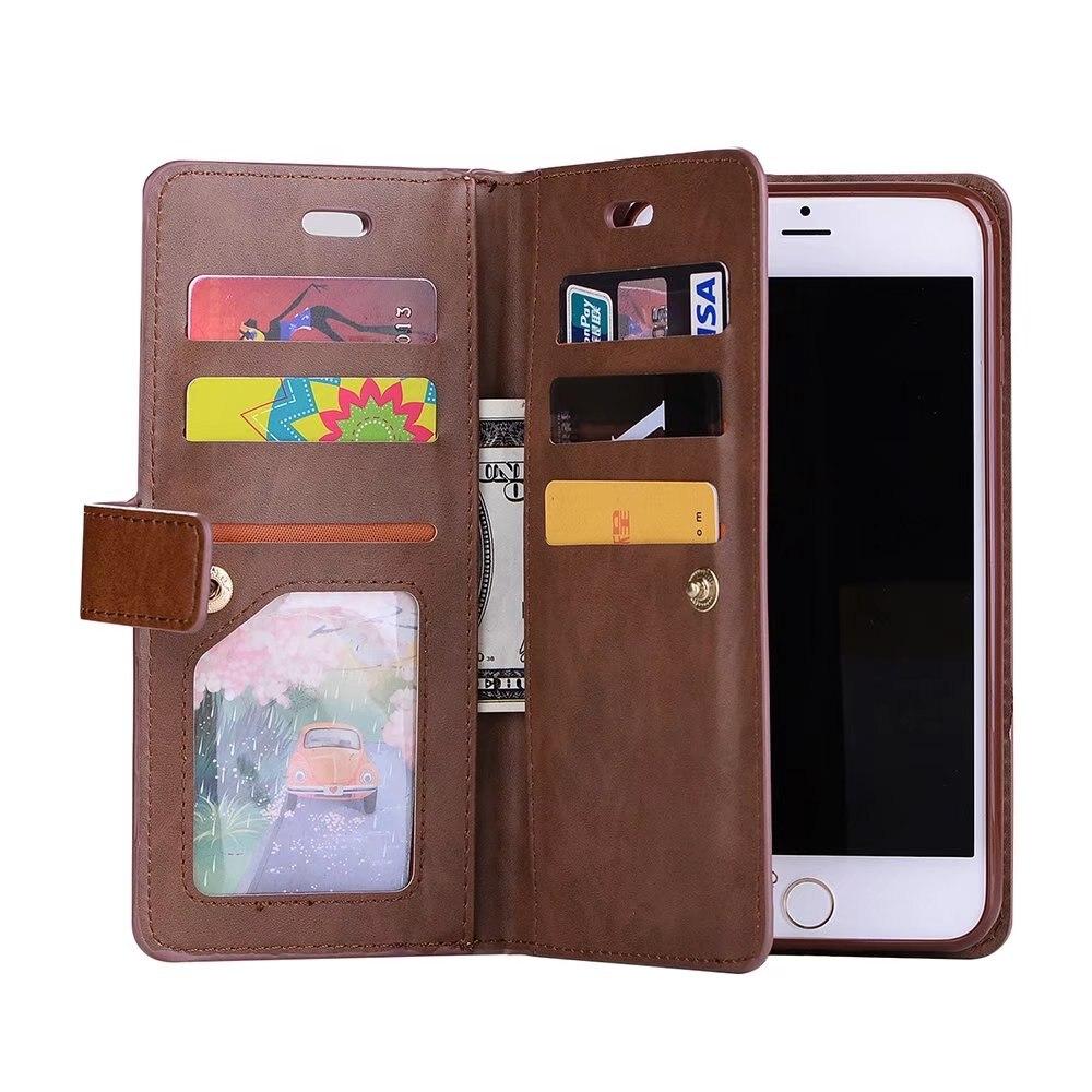 bilder für Dame frauen pu leder reißverschluss handtasche geldbörse mit einbauschlitz telefon case abdeckung für iphone6 6 s 6 p 7 7 plus telefon taschen case 7 p