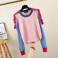 stylish ruffles women sweaters and pullovers patchwork off shoulder knitted slim elegant lady female pulls outwear tops