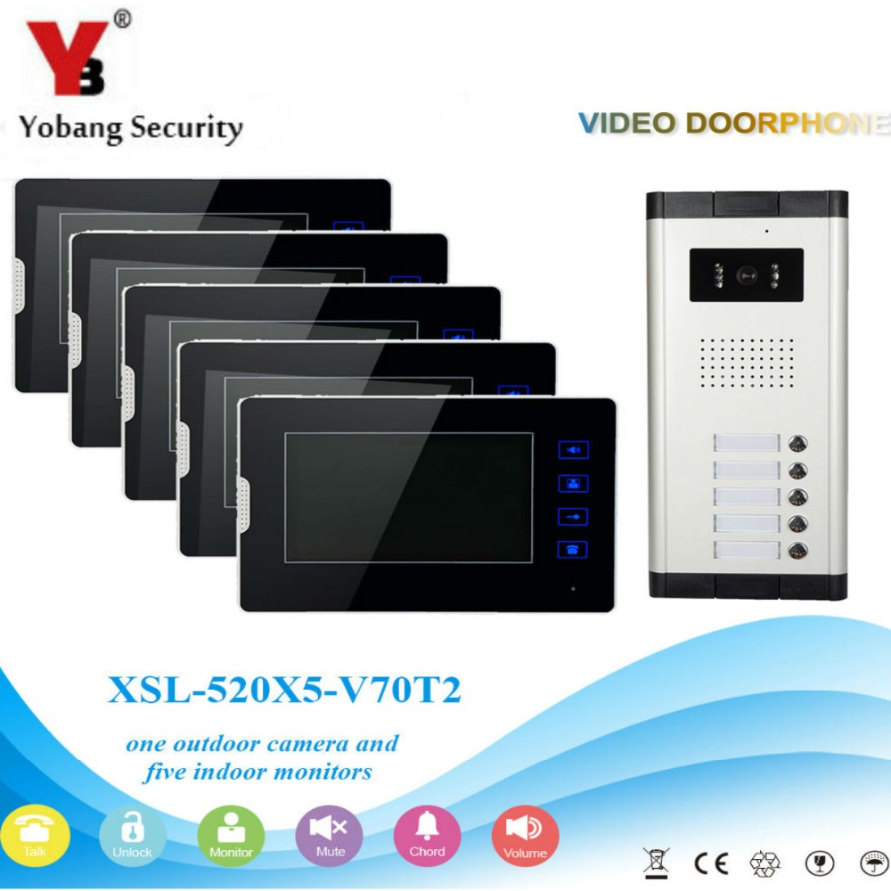 YobangSecurity 1-Camera 5-Monitor 7 Inch HD Video Phone Video Intercom Home Doorbell System Night Vision 5 Access Control . yobangsecurity 1 camera 1 monitor 7 video door phone video intercom home doorbell system night vision 2 way access control