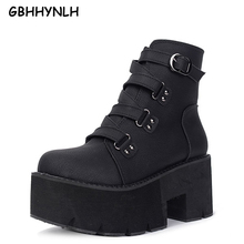 Купить с кэшбэком GBHHYNLH snowboots winter shoes Thick Heels gladiator boots Casual Shoes platform boots women Autumn shoes punk boots LJA448