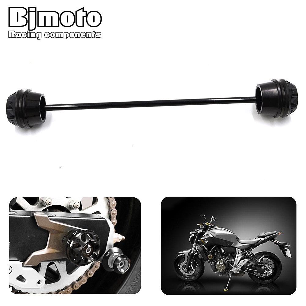BJMOTO Motorbike Rear Axle Fork Crash Sliders Protector Cap Falling Protection For YAMAHA MT-07 MT07 2013 2014 2015 fit for ducati monster 695 2007 2008 front rear axle fork crash sliders cap blue motorcycle falling protection