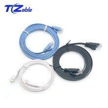 GATO Cat6 6 Flat Cable Cabos Ethernet Lan Cabo de Rede RJ 45 RJ45 Alta Velocidade Azul Preto Ultra-fino cabos planos para Modem Roteador