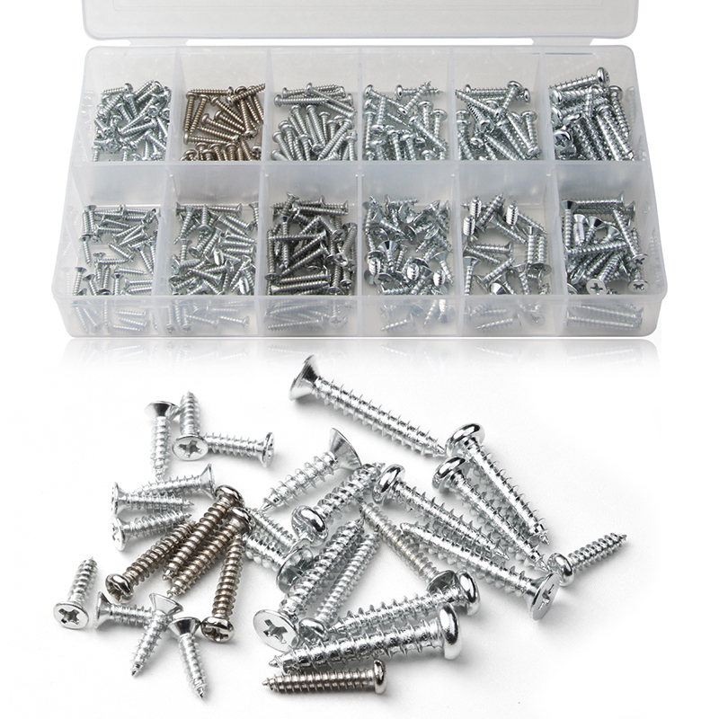 350PCS Self-tapping PWA Screws Bolt Kit M2.5/M3/M4 Iron Plated Nickel Cross Countersunk Flat Head Phillips Screw 9Sizes Fastener 340pcs truss stainless steel phillips screws set for woodworking round head cross m3 m4 pwa self tapping screw fastener kit