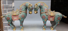 "WBY 003979 19"" Chinese Cloisonne Enamel Gold Gilt Successful Tang Horse Horses Animal Pair discount 30%(China)"