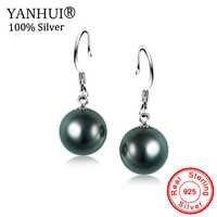95% RABATT Großen Verkauf YANHUI Original 10mm Süßwasser Schwarze Perle Ohrringe 925 Solide Silber Hochzeit Ohrringe Feine Schmuck HE168