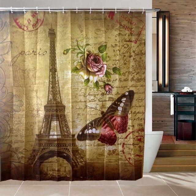 Waterproof Paris Eiffel Tower Bathroom Bedroom Fabric Shower Hooks Curtain Tools