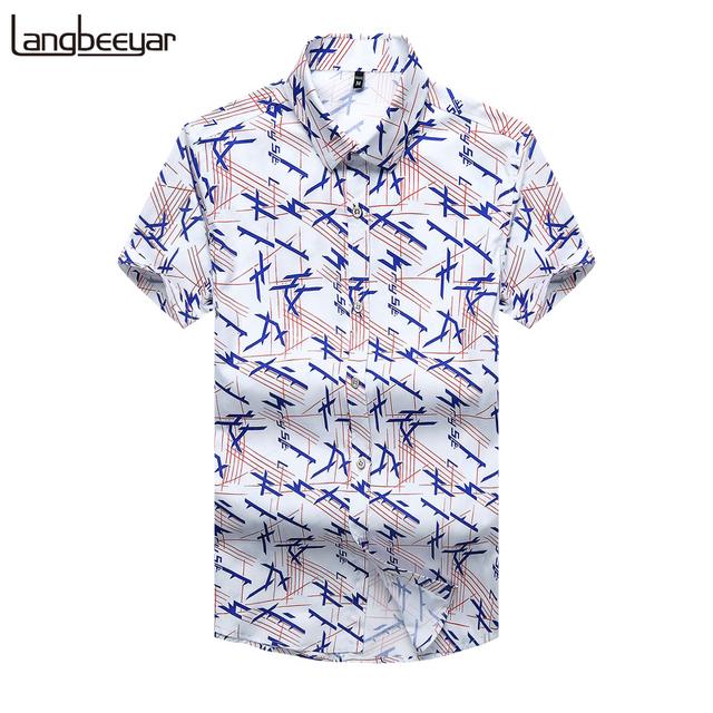 2017 verão novo moda marca clothing camisa dos homens de manga curta tendência de Impressão Camisa de Algodão Slim Fit Camisa Casual Roupas Masculinas M-5XL