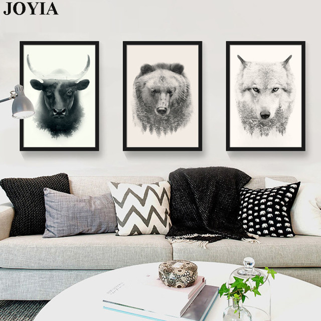 Modern Animal Print Art Bull Bear Wolf Picture Set Wall Canvas