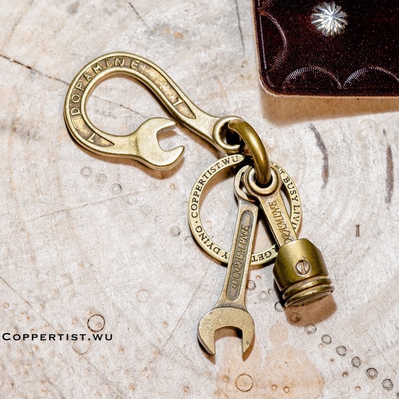coppertist wu Brass Wrench Decorative pattern CARABINER Spanner Clasps Claw Hook Keyring Key Chain Car Keychain Pendant in Key Chains from Jewelry Accessories