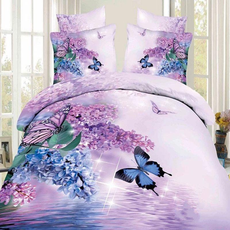 light pink butterfly printed 3D bedding set queen full size Egyptian cotton  bedclothes quilt/duvet