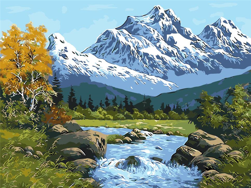 Lake and snow mountain drawings by numbers digital winter oil ...