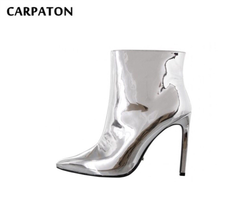 Carpaton Pointed Toe Short Boots for Woman 2019 Newest Metallic Silver PU Leather High Heel Boots Sexy Thin Heels Ankle Boots Carpaton Pointed Toe Short Boots for Woman 2019 Newest Metallic Silver PU Leather High Heel Boots Sexy Thin Heels Ankle Boots