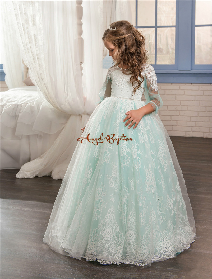 2017 New Princess Green ball gown flower girl dresses appliqued lace with tulle long sleeve backless kids first communion gowns 4pcs new for ball uff bes m18mg noc80b s04g