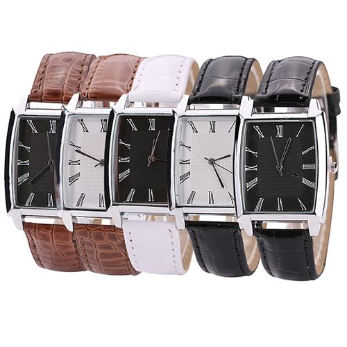 2018 New Men\'s Women\'s Square Case Faux Leather Band Quartz Casual Business Wrist Watch