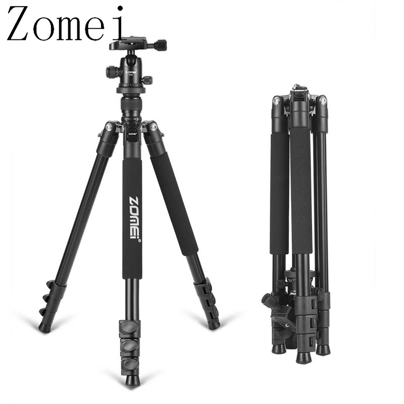 ZOMEI Q555 Hith Quality 360 degree Ball Head Lightweight Alluminum Alloy Tripod zomei q555 lightweight alluminum alloy camera tripod with 360 degree ball head 1 4 quick release plate for canon nikon sony