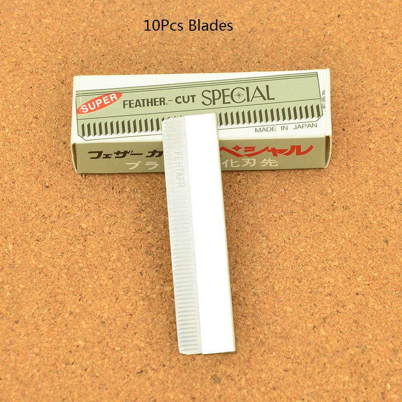 10Pcs Stainless Steel Multifunction Feather Blades Professional Hair Trimming Razor Blades Scraping Eyebrow Knife Blades HD0002