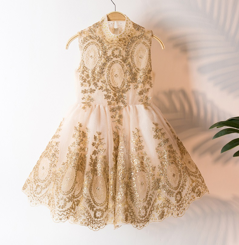 3408 Golden Embroidery Girls Wedding Costume Princess Party Costume Girls Dress Tutu Kids Dresses Wholesale Baby Girl Clothes 3P 5790 palace style red lace toddler princess party girls dress layers tutu kids dresses for girls wholesale baby girl clothes lot