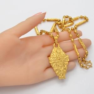 Image 4 - Anniyo Hawaii Flower Gold Color Cross Pendant Ball Beads Chain Necklaces Habesha Micronesia Chuuk Marshall Jewelry #198106P