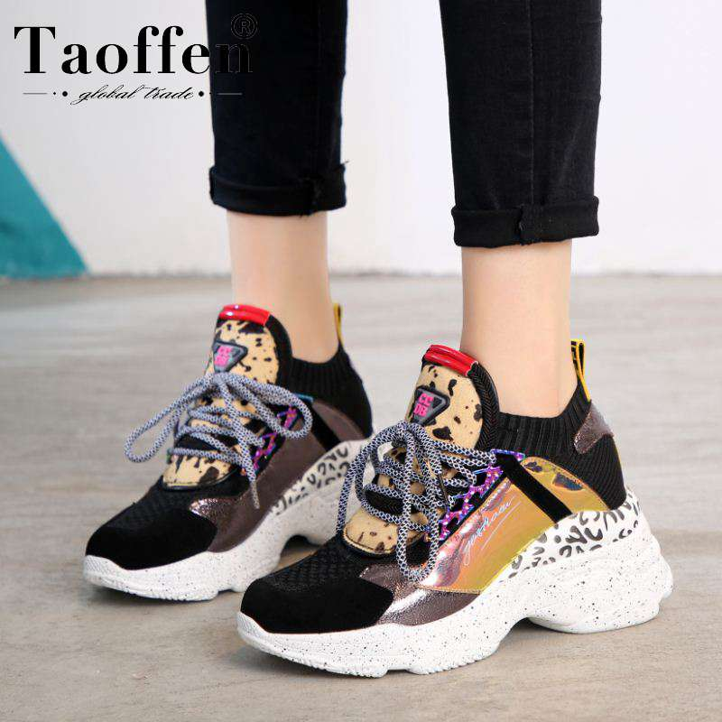 Taoffen New Fashion 2019 Real Leather Ins Hot Style Vulcanized Shoes Women Sneakers Platform Air Cushion