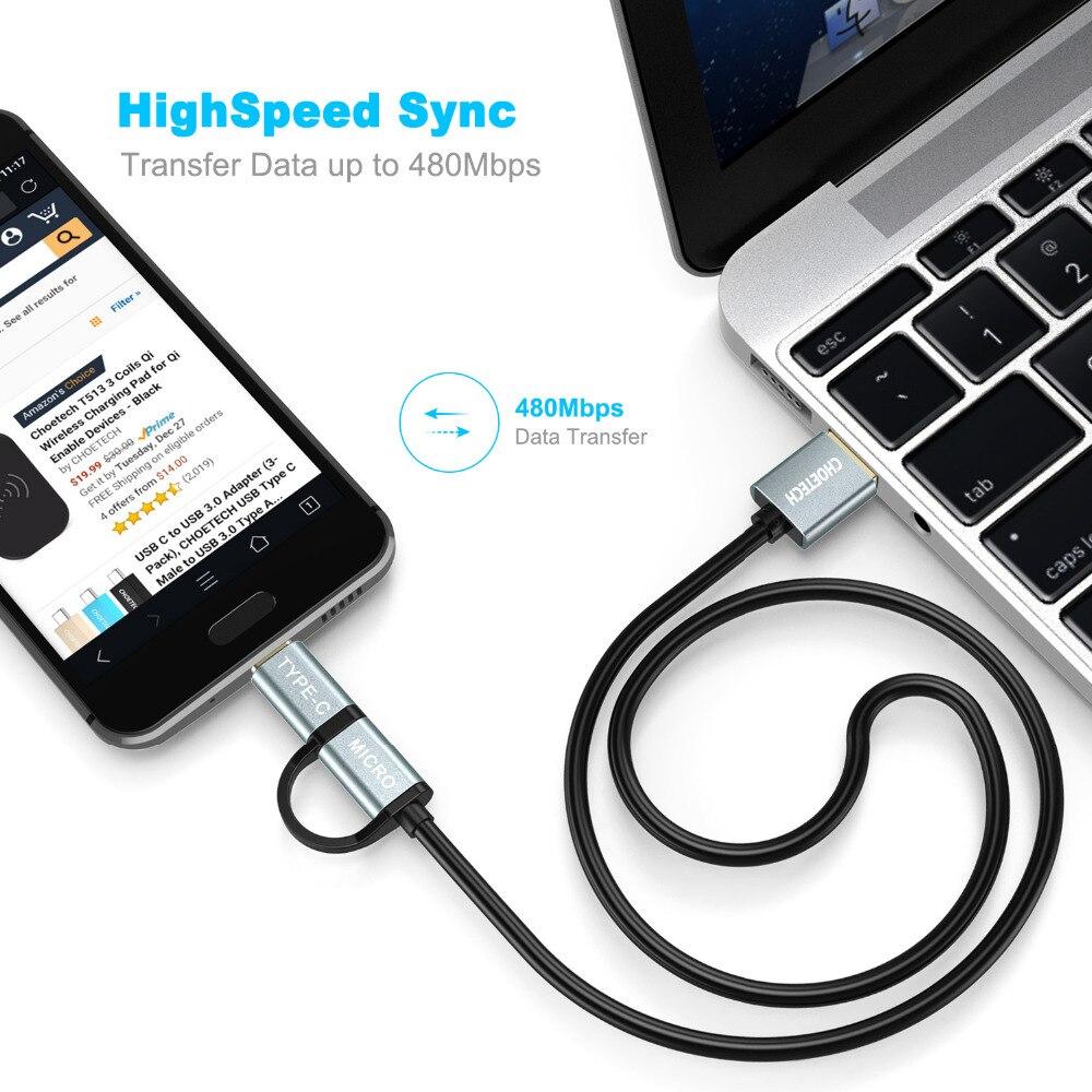 CHOETECH 2 i 1 USB-kabel Type C + Micro USB-kabel 1,2M - Reservdelar och tillbehör för mobiltelefoner - Foto 5