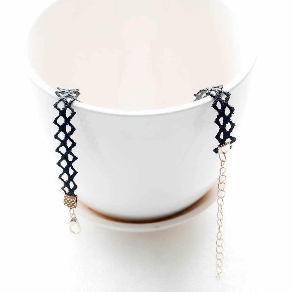 Phong cách gothic đơn giản màu đen ren kim loại sao mặt dây chuyền hình xăm choker vòng cổ nữ lady cổ áo trang sức phụ kiện