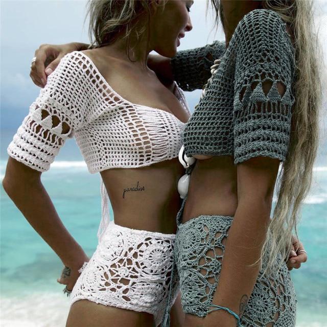 dd70e96b597a5 Special Offers Women Cover-Ups Bikini Tops Knit Bralette Crochet Hollow Crop  Bikini Bra Top