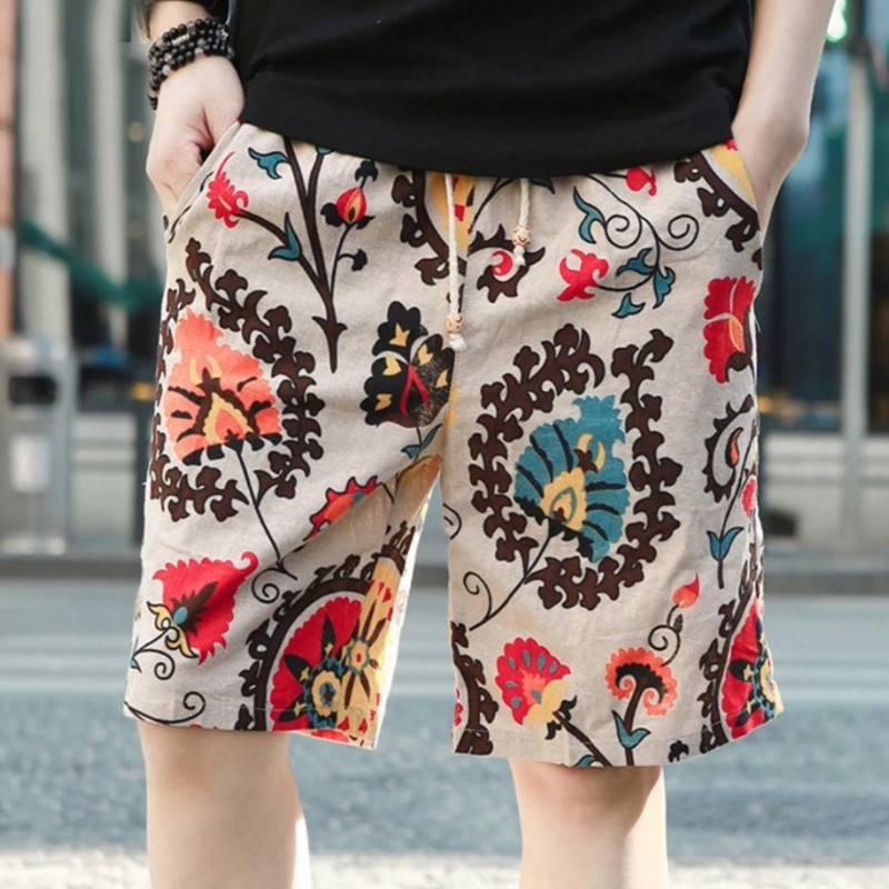 EL BARCO Summer Quick Dry Men Board Shorts Colorful Flower Print Male Beach Shorts Knee-Length Casual Trousers Size M-3XL