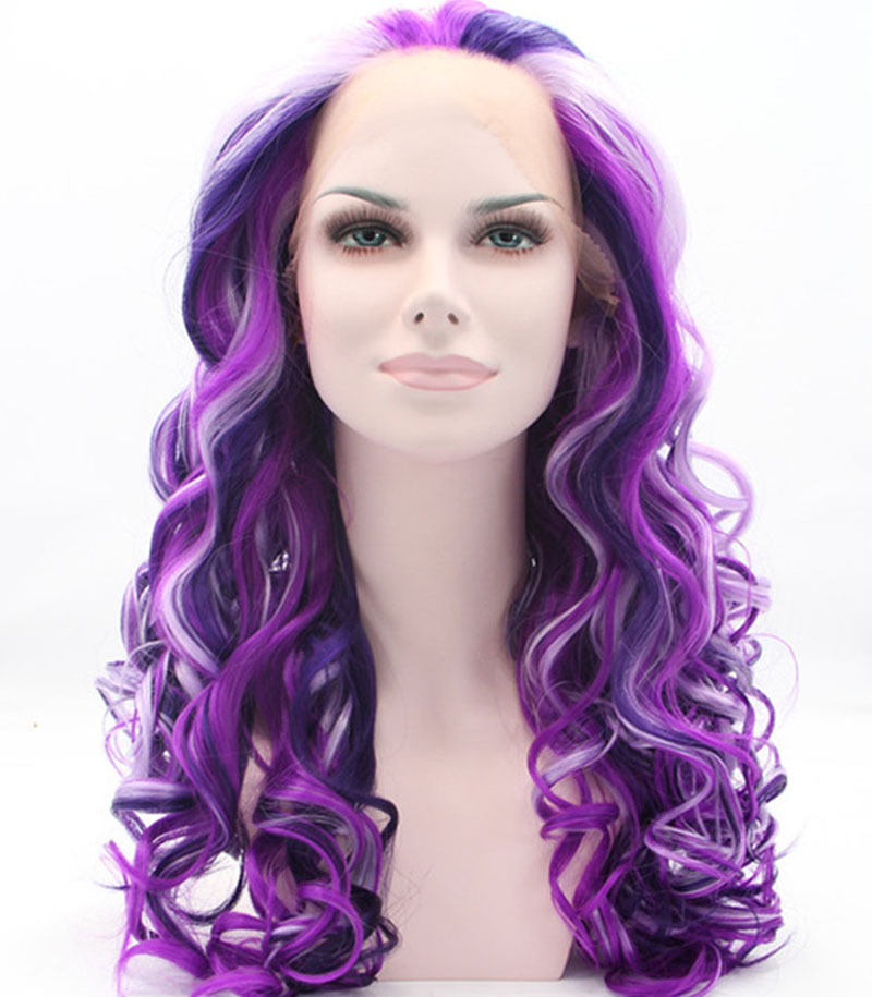 ФОТО high quality fashion  mixed loose color curly wig heat resistant fiber   synthetic hair synthetic lace front wigs
