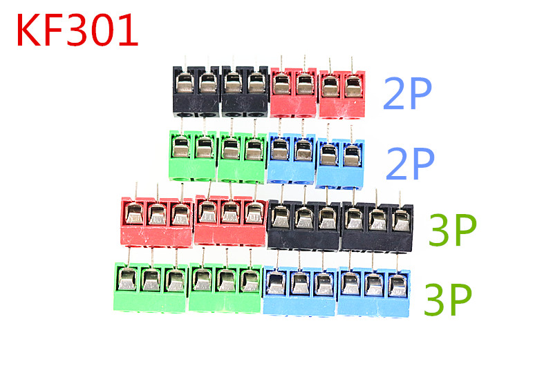 Free shipping 20Pcs/lot KF301-5.0-2P KF301-3P Pitch 5.0mm Straight Pin 2P 3P Screw PCB Terminal Block Connector Blue GREEN RED free shipping 5pcs lot 24n60c3 spw24n60c3 to 3p new original