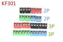 Бесплатная Доставка 20 шт./лот KF301-5.0-2P KF301-3P шаг 5,0 мм прямой контакт 2 P 3 P винт печатной платы клеммный блок разъемов синий зеленый красный