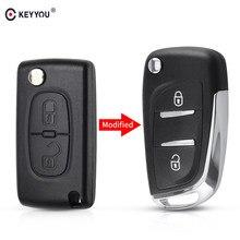 Модифицированный чехол для автомобильного ключа-раскладушки KEYYOU, чехол для ключа-пульта для Citroen C2, C3, C4, C5, C6, XSARA, PICA, для Peugeot 306, 407, 807, CE0523